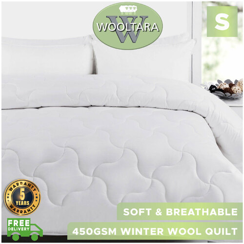Wooltara Imperial Luxury 450Gsm Washable Winter Australia Alpaca Blend Wool Quilt - Single Bed