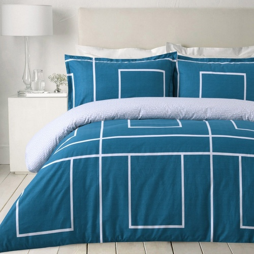 Jade Printed Doona Quilt Cover Egyptian Cotton Set Bedding Teal Squared Blue